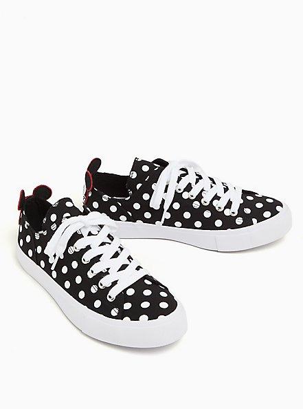 Disney Mickey Mouse Polka Dot Black Canvas Lace-Up Sneaker (WW), BLACK, alternate