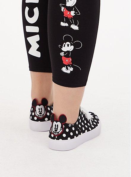 Disney Mickey Mouse Polka Dot Black Canvas Lace-Up Sneaker (WW), BLACK, hi-res