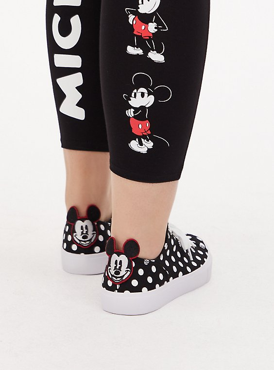Disney Mickey Mouse Polka Dot Black Canvas Lace-Up Sneaker (WW), , hi-res