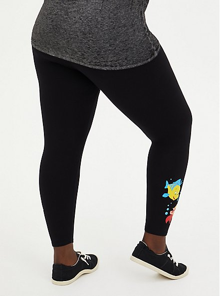 Disney The Little Mermaid Flounder & Sebastian Black Crop Legging, DEEP BLACK, alternate