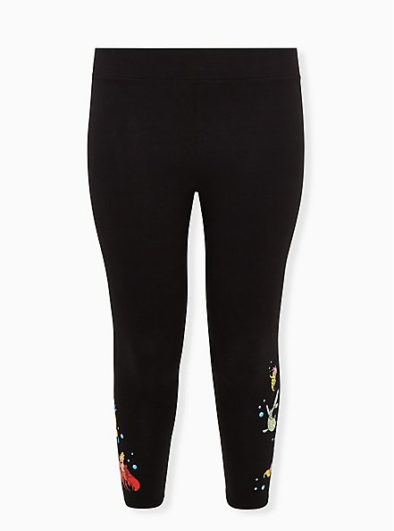 Disney The Little Mermaid Flounder & Sebastian Black Crop Legging, DEEP BLACK, hi-res