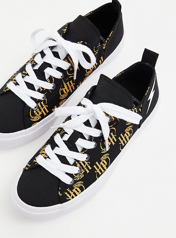Plus Size Harry Potter Golden Snitch Black Canvas Sneaker (WW), , hi-res