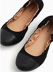 Black Faux Suede Scrunch Ballet Flat (WW), BLACK, alternate