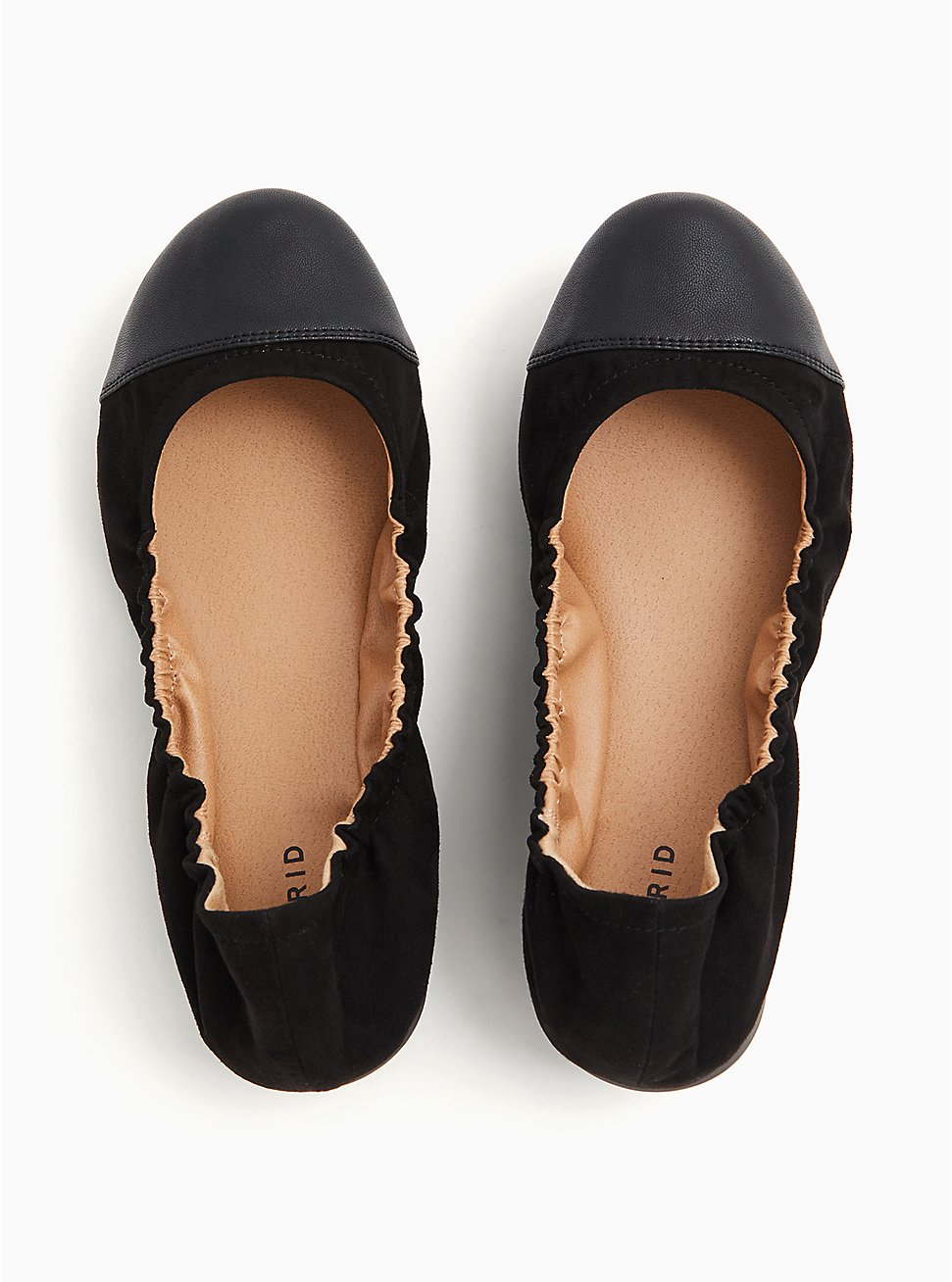 Black Faux Suede Scrunch Ballet Flat (WW), BLACK, hi-res