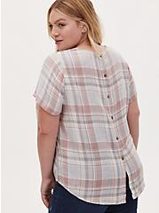 Abbey - Light Pink & Light Grey Plaid Woven Button Back Blouse, PLAID - GREY, alternate