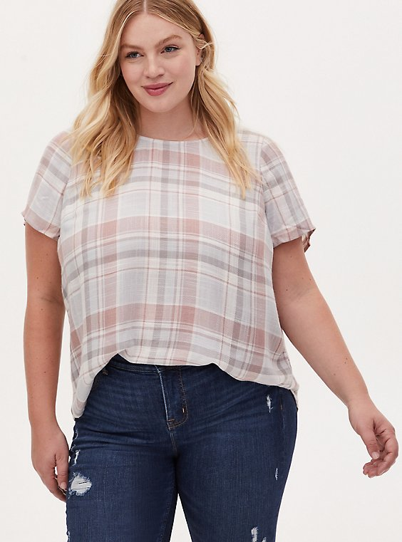 Abbey - Light Pink & Light Grey Plaid Woven Button Back Blouse, PLAID - GREY, hi-res