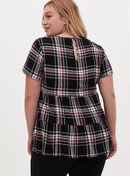 Plus Size Black & Red Plaid Shirred Hem Top, PLAID - BLACK, alternate