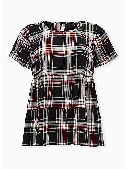 Black & Red Plaid Shirred Hem Top, PLAID - BLACK, hi-res