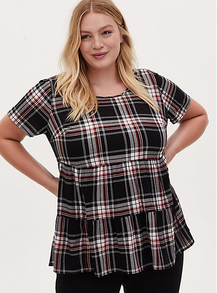 Plus Size Black & Red Plaid Shirred Hem Top, PLAID - BLACK, hi-res