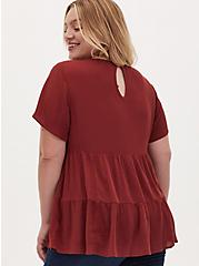 Brick Red Shirred Hem Top, MADDER BROWN, alternate