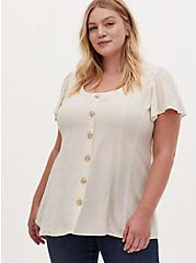 Ivory Textured Woven Button Fit & Flare Blouse, BIRCH, hi-res