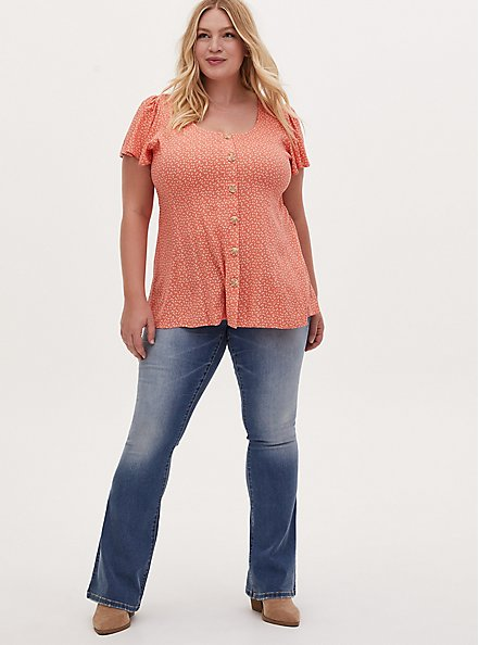 Coral Ditsy Leaf Textured Woven Button Fit & Flare Blouse, LEAVES - CORAL, alternate