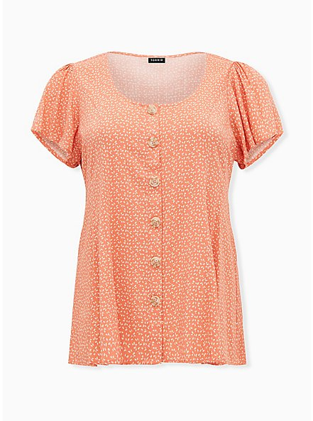 Coral Ditsy Leaf Textured Woven Button Fit & Flare Blouse, LEAVES - CORAL, hi-res