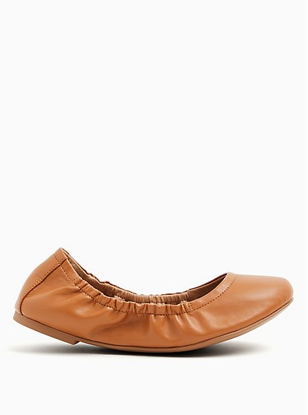 Cognac Faux Leather Scrunch Ballet Flat (WW), COGNAC, alternate