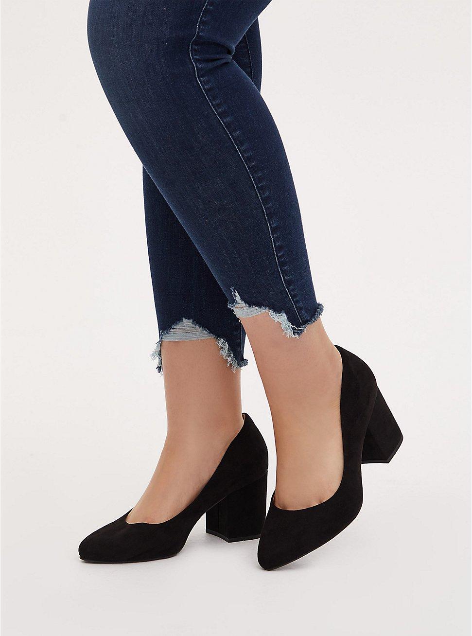 Black Faux Suede Pointed Toe Block Heel Pump (WW), BLACK, hi-res