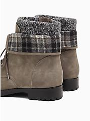 Grey Faux Leather Foldover Sweater-Trimmed Combat Bootie (WW), GREY, alternate