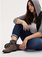 Grey Faux Leather Foldover Sweater-Trimmed Combat Bootie (WW), GREY, hi-res