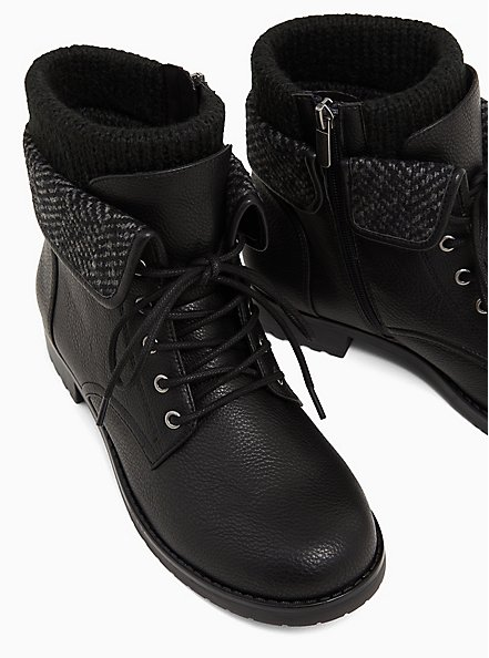 Black Faux Leather Foldover Sweater-Trimmed Combat Boot (WW), BLACK, alternate