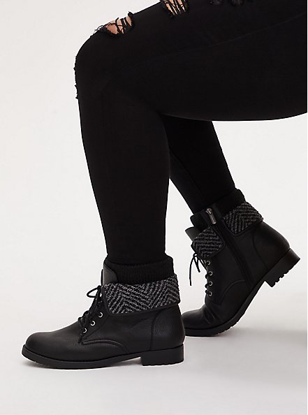Black Faux Leather Foldover Sweater-Trimmed Combat Boot (WW), BLACK, hi-res