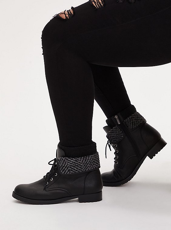Black Faux Leather Foldover Sweater-Trimmed Combat Boot (WW), , hi-res