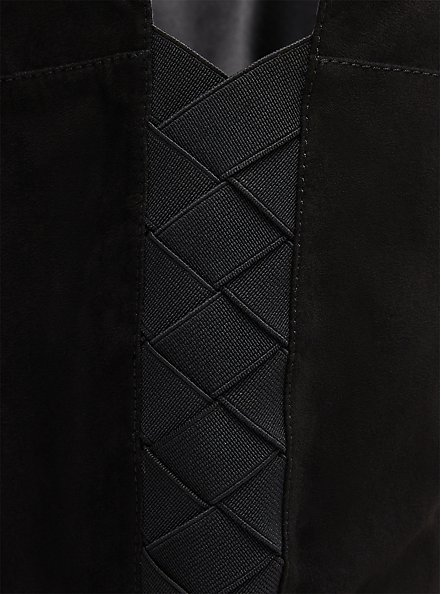 Black Faux Suede Woven Over-The-Knee Boot (WW), BLACK, alternate