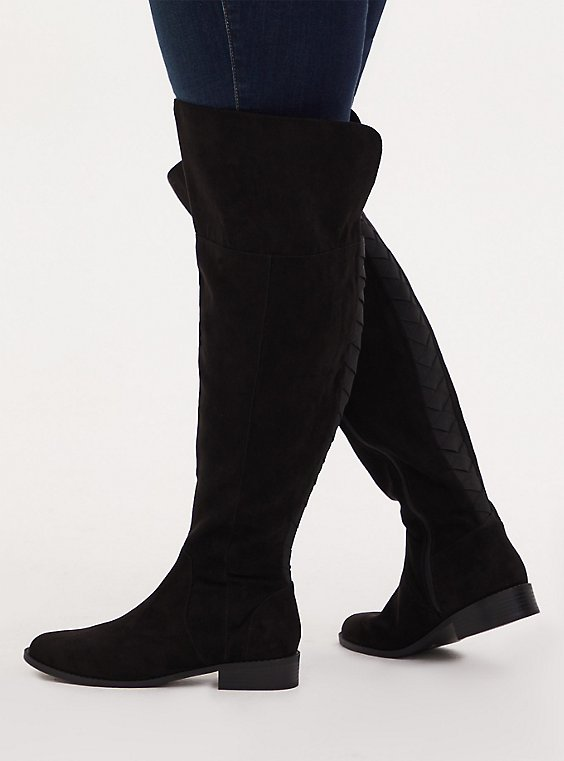 Black Faux Suede Woven Over-The-Knee Boot (WW), , hi-res