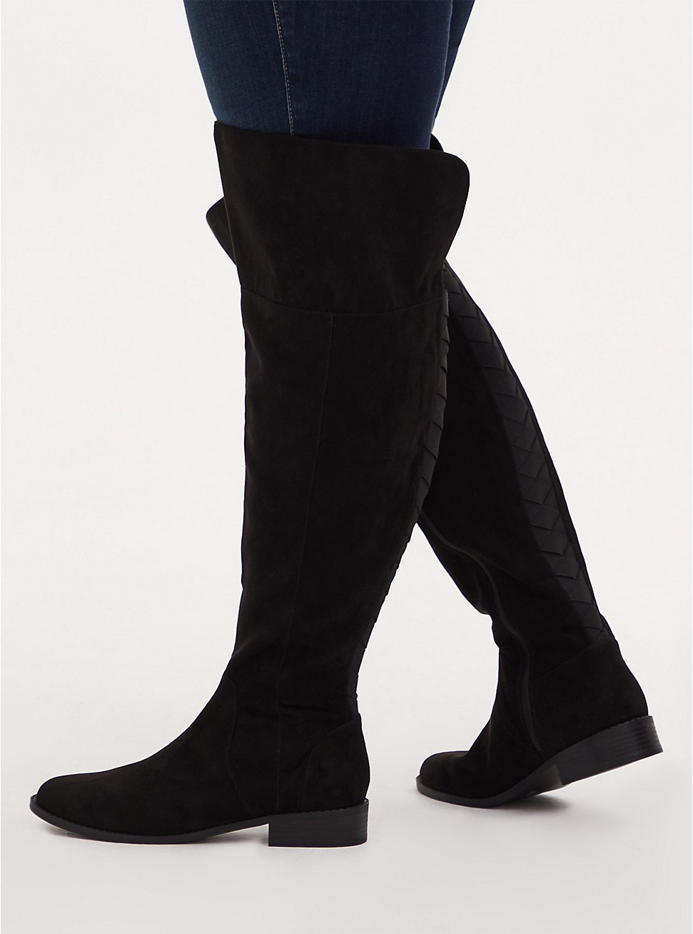 Black Faux Suede Woven Over-The-Knee Boot (WW), BLACK, hi-res