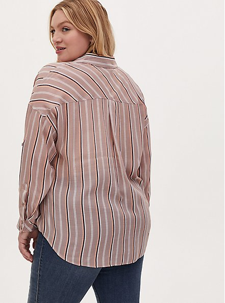 Taupe Stripe Gauze Button Front Relax Fit Tunic Shirt, STRIPE - BROWN, alternate