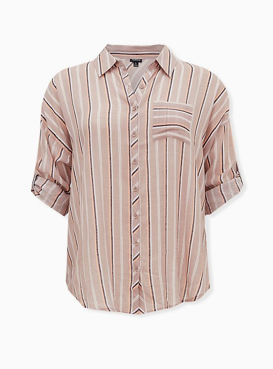 Taupe Stripe Gauze Button Front Relax Fit Tunic Shirt, STRIPE - BROWN, ls