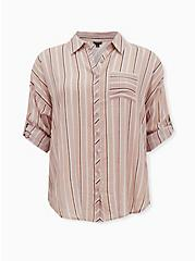 Taupe Stripe Gauze Button Front Relax Fit Tunic Shirt, STRIPE - BROWN, hi-res