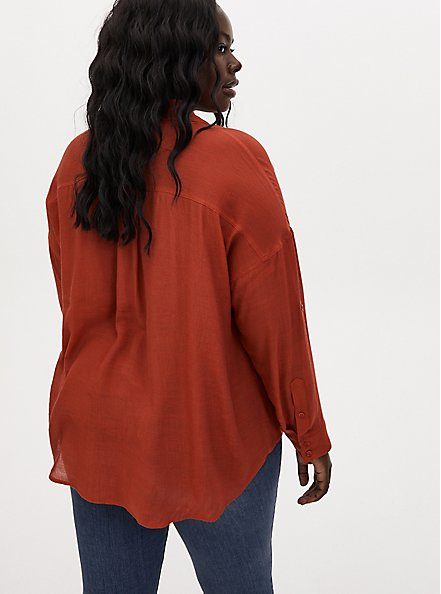 Red Terracotta Gauze Button Front Relaxed Fit Tunic Shirt, TANDOORI SPICE, alternate