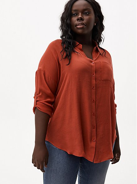 Red Terracotta Gauze Button Front Relaxed Fit Tunic Shirt, TANDOORI SPICE, hi-res