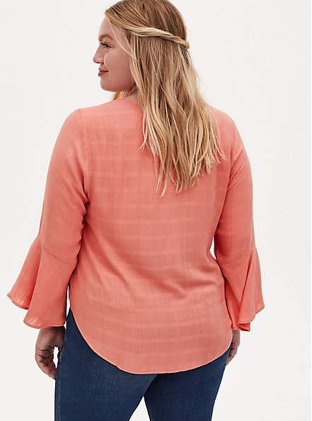 Plus Size Coral Textured Tie Front Midi Blouse, CRABAPPLE, alternate