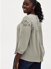 Sage Green Crinkle Gauze Embroidered Blouse, SEAGRASS, alternate