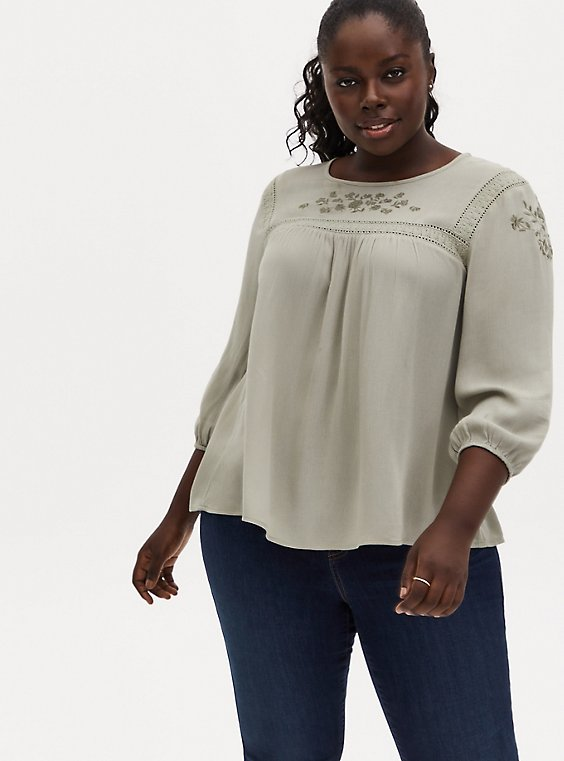 Sage Green Crinkle Gauze Embroidered Blouse, SEAGRASS, hi-res