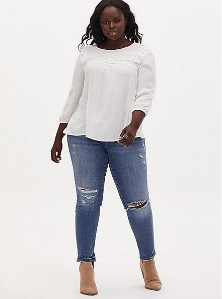 White Crinkle Gauze Embroidered Blouse, CLOUD DANCER, alternate