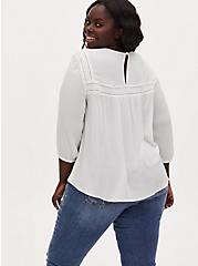 White Crinkle Gauze Embroidered Blouse, CLOUD DANCER, alternate