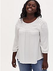 White Crinkle Gauze Embroidered Blouse, CLOUD DANCER, hi-res