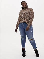 Leopard Sheer Chiffon Smocked Mock Neck Blouse, CHEE LEOPARD, alternate