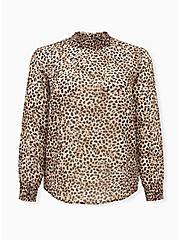 Leopard Sheer Chiffon Smocked Mock Neck Blouse, CHEE LEOPARD, hi-res