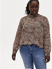Leopard Sheer Chiffon Smocked Mock Neck Blouse, CHEE LEOPARD, hi-res
