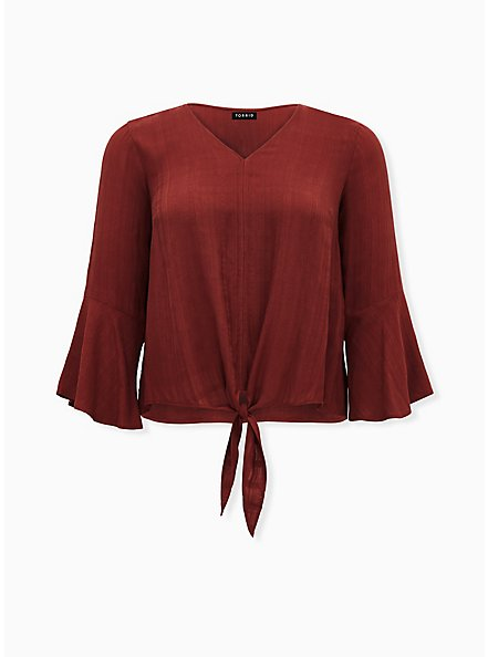 Brick Red Textured Tie Front Midi Blouse, MADDER BROWN, hi-res