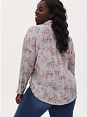 Mist Blue Floral Gauze Button Front Relaxed Fit Shirt, FLORALS-GREY, alternate
