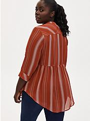 Emma - Red Terracotta Stripe Chiffon Babydoll Tunic, STRIPE - RED, alternate