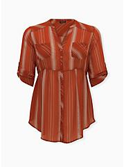 Emma - Red Terracotta Stripe Chiffon Babydoll Tunic, STRIPE - RED, hi-res