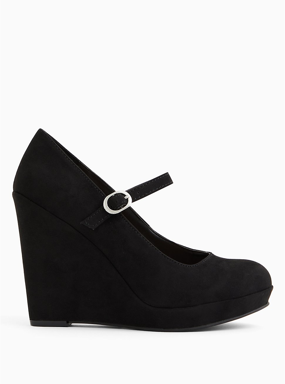 Plus Size Black Faux Suede Mary Jane Wedge (WW), BLACK, hi-res