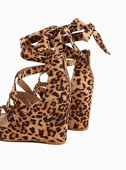 Leopard Faux Suede Ankle Wrap Platform Wedge (WW), ANIMAL, alternate