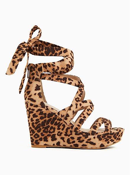 Leopard Faux Suede Ankle Wrap Platform Wedge (WW), ANIMAL, hi-res