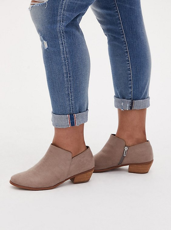 Taupe Faux Suede Ankle Boot (WW), TAN/BEIGE, hi-res