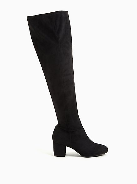 Plus Size Black Faux Suede Woven Block Heel Over-The-Knee Boot (WW), BLACK, alternate